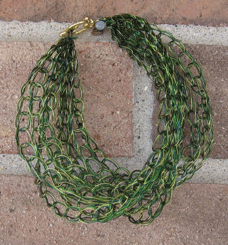Crochet Bracelet Green and Gold Chain Wire Colored Copper WJ1