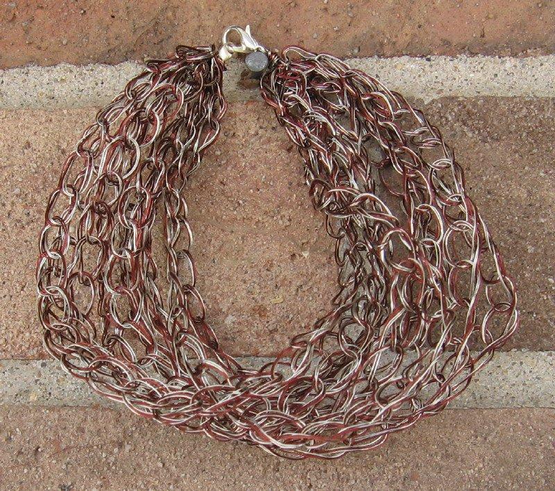 Crochet Bracelet Brown and Silver Chain Wire Colored Copper WJ3