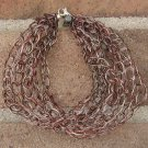 Crochet Bracelet Brown and Silver Chain Wire Colored Copper WJ3
