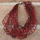 Crochet Bracelet Red and Black Chain Wire Colored Copper WJ5