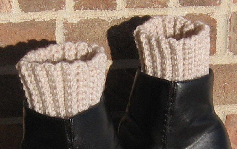 Crochet Boot Cuffs Linen Handmade Waffle CA1