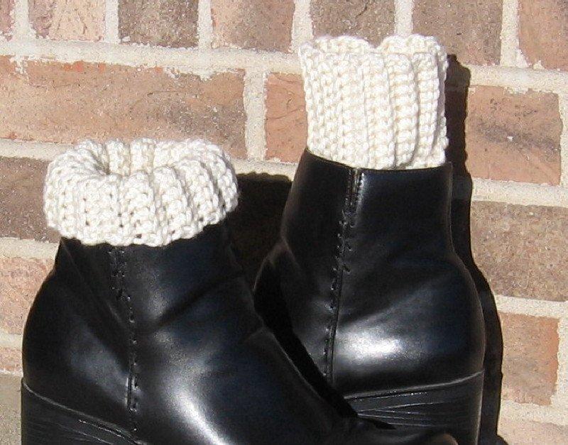 Crochet Boot Cuffs Ivory Handmade Waffle CA2