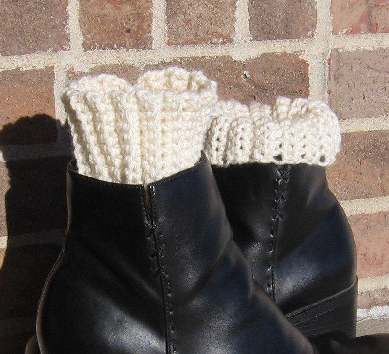 Crochet Boot Cuffs Ivory Handmade CC1
