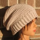 Crochet Slouchy Hat Linen Ribbed Band HAT4