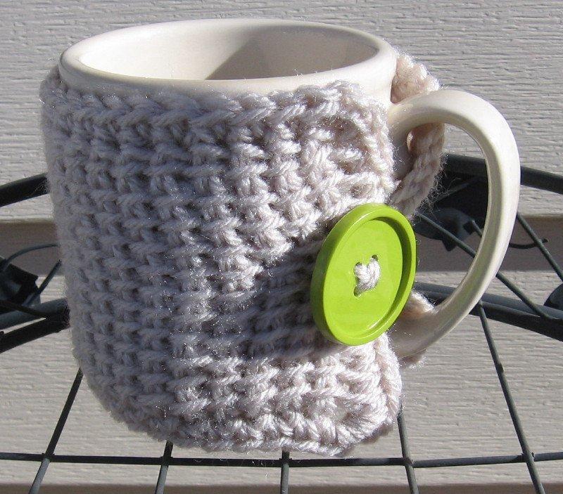 Crochet Coffee Tea Mug Cup Cozy Linen Green Button MC1