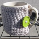 Crochet Coffee Tea Mug Cup Cozy Linen Green Button MC1