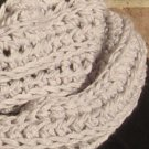 Crochet Infinity Scarf Cowl Light Grey Handmade Double Strand SF1