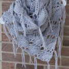 Crochet Infinity Triangle Shawl Cowl Scarf Light Grey SG1 Handmade