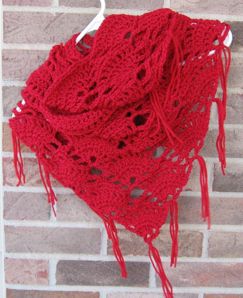 Crochet Infinity Triangle Shawl Cowl Scarf Red SG3 Handmade