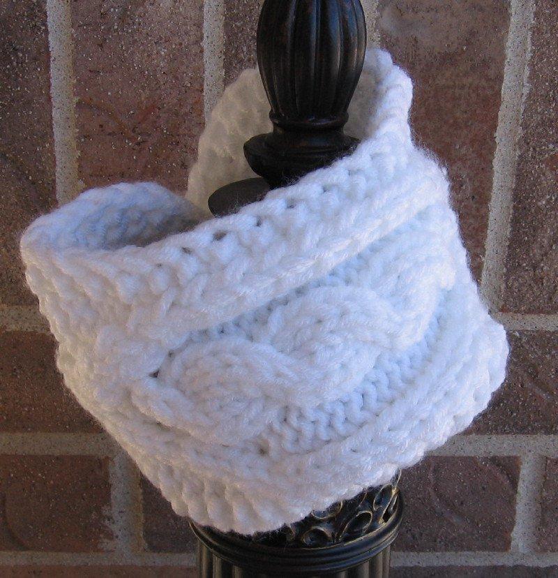 Headband Knit Cable White Ear Warmer Head Wrap E1