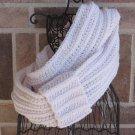 Crochet Infinity Scarf Cowl Antique White Handmade Camel SH1