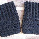 Crochet Boot Cuffs Black Camel Handmade CER4