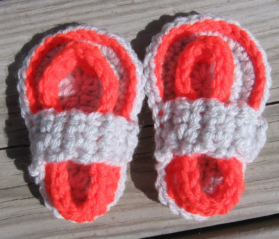 Crochet Baby Sandals Flip Flops Strap Neon Orange and Light Gray 4 Inch.