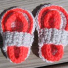 Crochet Baby Sandals Flip Flops Strap Neon Orange and Light Gray 4 Inch.
