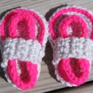 Crochet Baby Sandals Flip Flops Strap Neon Pink and Light Gray 4 Inch.