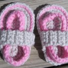 Crochet Baby Sandals Flip Flops Strap Pink and Light Gray 4 1/2 Inch.