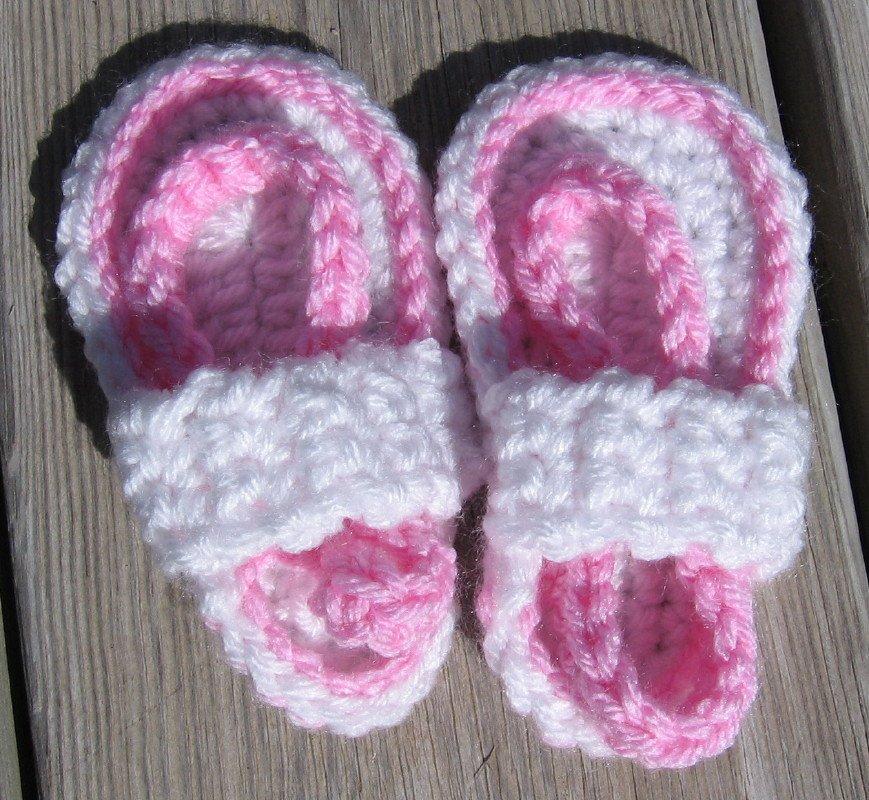 Baby Sandals Flip Flops Strap Crochet White Pink  4 1/2 inch FFWP