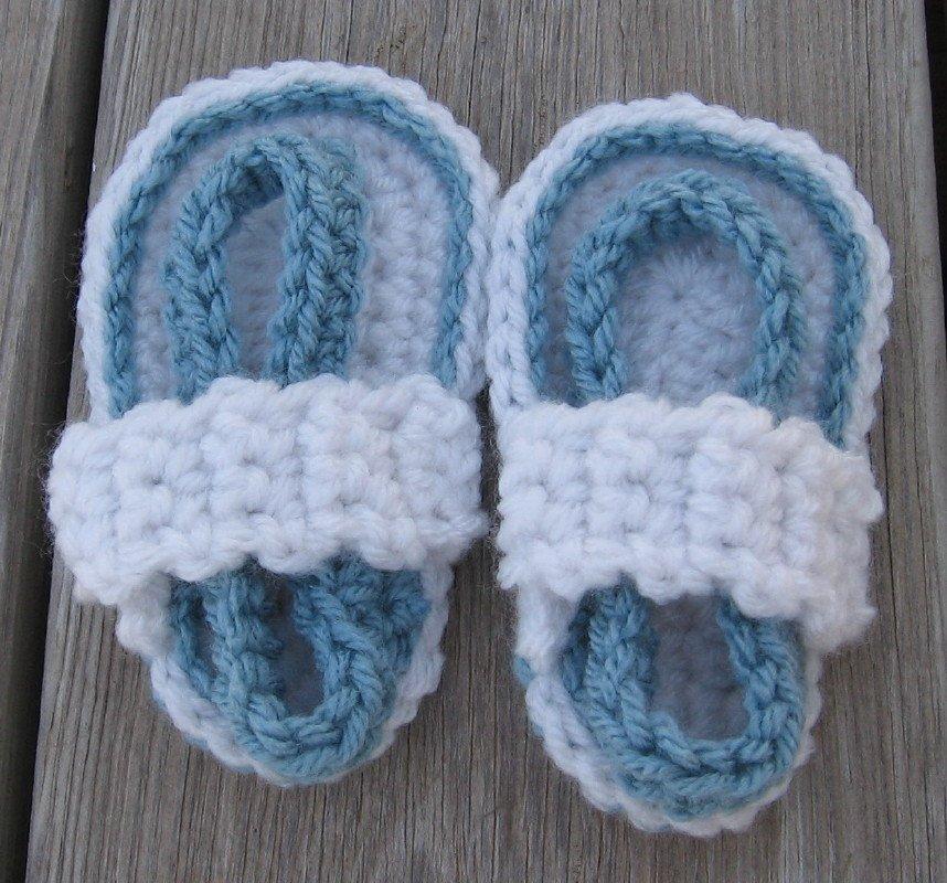 Baby Sandals Flip Flops Strap Crochet White Blue 4 1/2 inch FFWB