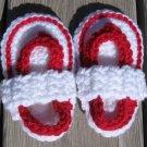 Baby Sandals Flip Flops Strap Crochet White Red 4 1/2 inch FFWR