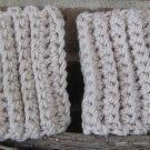 Crochet Boot Cuffs Linen Camel Handmade CF1