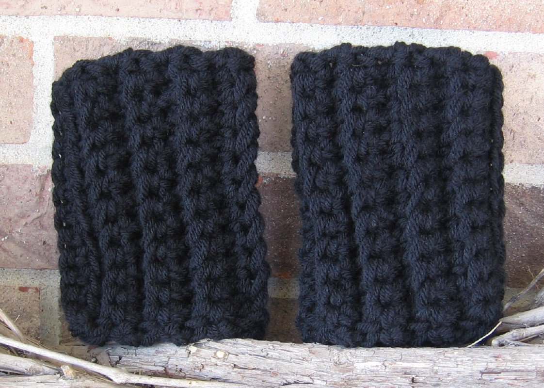 Crochet Boot Cuffs Black Chunky Handmade CF2