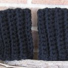 Crochet Boot Cuffs Black Chunky Handmade CF2