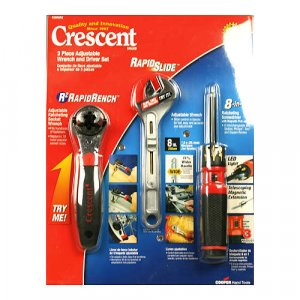 Crescent 3 Piece Adjustable Wrench & Driver Set, Light, New Generation Of Tools