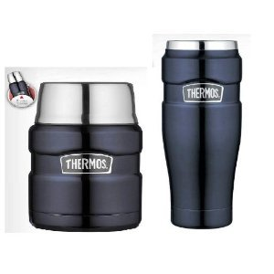 GENUINE Thermos  Tumbler & Food Jar Vacuum Insulated  STAINLESS STEEL 2 Piece Set