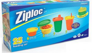 Ziploc 25 Pc. Feeding Set The First Years Cups Bowls Snack Cups
