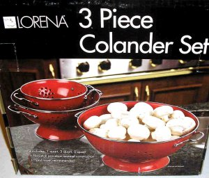 Lorena 3pc Colander Set RED