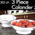 Lorena 3pc Colander Set WHITE