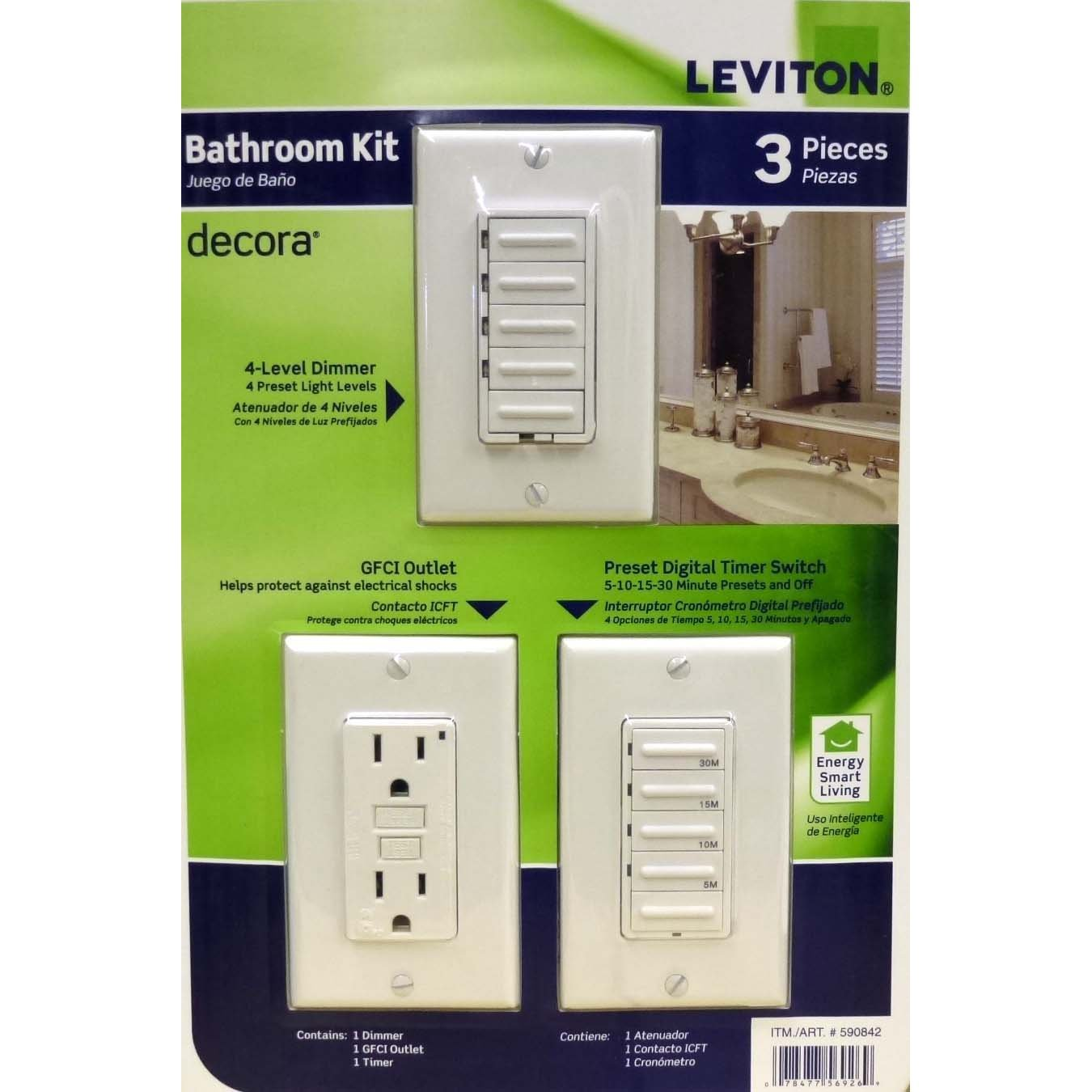 Leviton Bathroom Switch Kit Timer GFCI Dimmer - Bathroom dimmer light switch