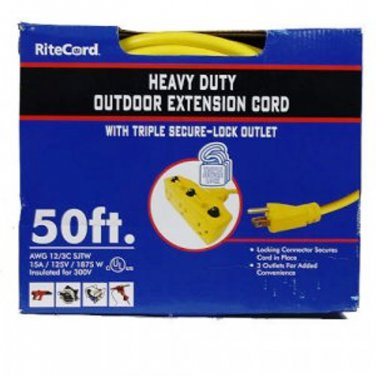 Extension Cord Contractors Heavy Duty UL Listed 12 Gauge With Three Outlets