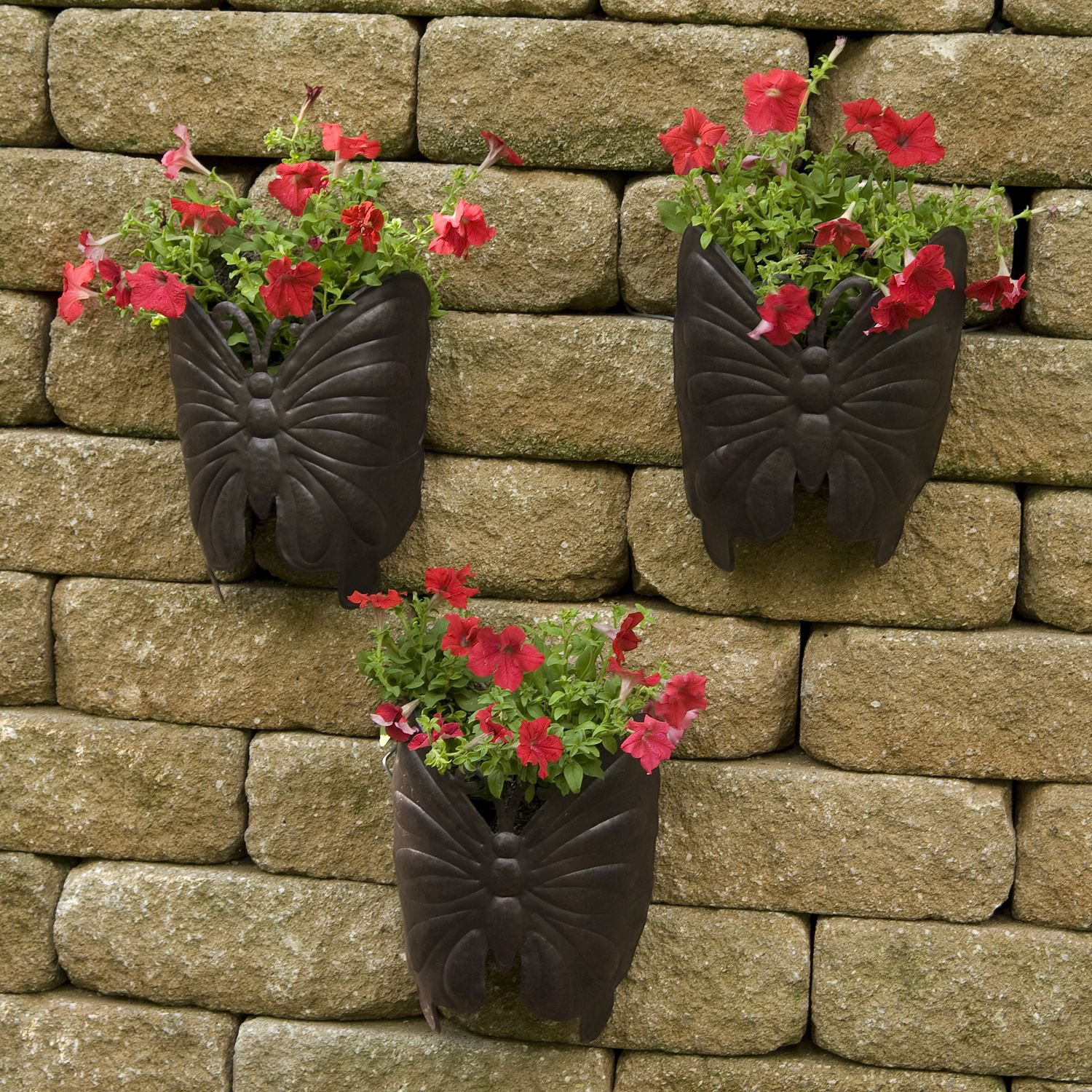 Planter Large Butterfly Metal Wall 3pk