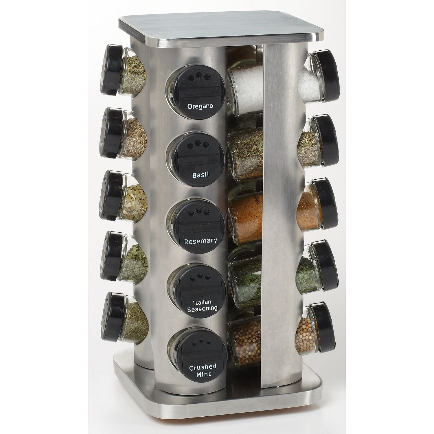 Kamenstein Brushed Stainless Steel Spic Rack With Premium Spices