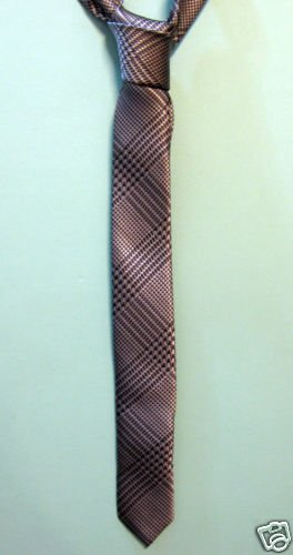 "NEW Silver Pattern Skinny Thin Tie Mod Chic Black 1.5"" ** Free Shipping"