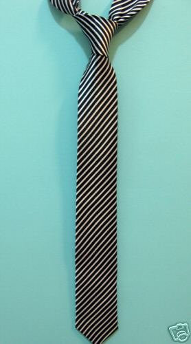 "Black White Striped Skinny Thin Tie Mod Vintage Punk 2""  Style - A ** Free Shipping"