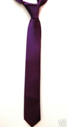 "Purple 2"" Ultra Skinny Thin Tie Mod Vintage Punk Retro ** Free Shipping"