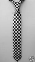 "NEW Black White Checkered Striped Skinny Thin Tie 2"" **Free Shipping"