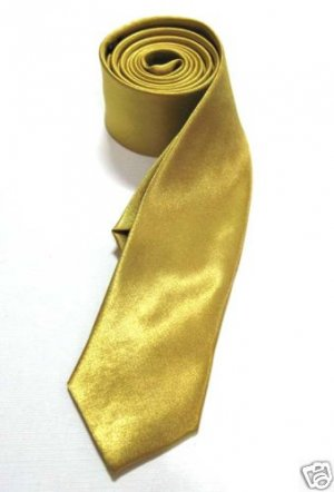 "2"" Skinny Thin Tie GOLD Vintage Punk X'mas Party NEW ** Free Shipping"