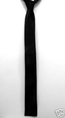 "Black Square End Skinny Thin Tie Mod Vintage Punk 1.5"" ** Free shipping"