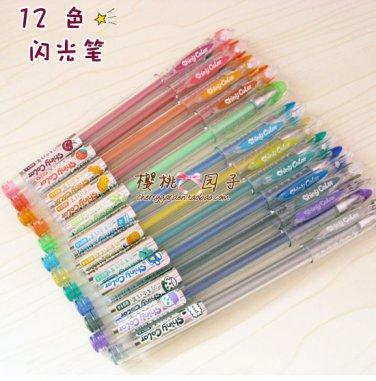 Korean Stationery Office Shiny Color Sign Pen set 12 Colour