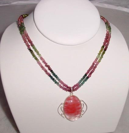 DOUBLE STRAND TOURMALINE NECKLACE 	WITH PENDANT