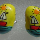 HAND PAINTED BEAN EARRINGS