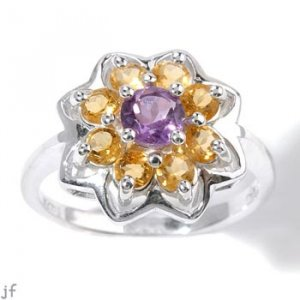 AMETHYST AND CITRINE FLOWER DESIGN RING