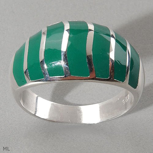 GREEN ENAMEL STRIPED DOME RING