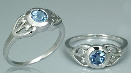 ROUND SWISS BLUE TOPAZ RING