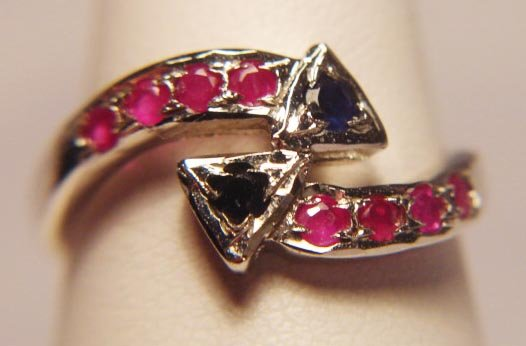 RUBY AND SAPPHIRE BYPASS RING