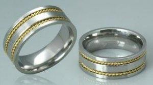 TWO TONE SURGICAL STEEL RING