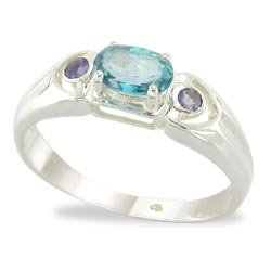 TEAL TOPAZ AND IOLITE RING